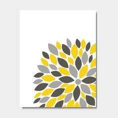 Make this with different colors to match kitchen or bedroom ~ jL Flower Bursts Botanical Print x // Grey Yellow Teal // Digital Fine Art Modern Wall Art Prints Home Decor