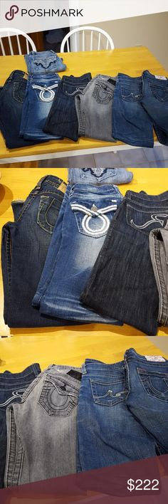 6 jean bundle 6 jean bundle for @ammyta: From left to right in photo: 1) true religion lexi size 24 2) big star sweet flare size 23r 3) rock & republic datk wash size 24 4) true religion gray billy size 24 5) Ag Tomboy gold stitch size 24 6) true religion bobby boot cut aize 24 True Religion Jeans Boot Cut