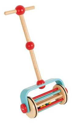 Janod Push N Roll by Juratoys. $26.99. Constructed from solid wood. Handle height is adjustable. Great for ages 12 months and above. Bright, fun colors entice your little one to play. Designed in France by Janod. From the Manufacturer                Get up and get going with Janod's Push N' Roll. Designed in France, this wonderful, wood piece is height adjustable and made from high quality wood. The bottom portion contains brightly colored, thick wood rounds t...