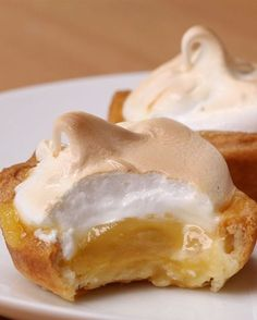 Original Recipe Lemon Meringue Bites (via Proper Tasty)Lemon Meringue Bites Mini Desserts, Sweet Desserts, Just Desserts, Pie Dessert, Eat Dessert First, Proper Tasty, Cake Recipes, Dessert Recipes, Tasty Videos