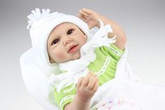NPK collection Reborn Baby Doll Vinyl Silicone 22 inch 55 cm Babies Doll Lifelike express Toys beautiful Girl for Children Gift green clothes >>> Check this awesome product by going to the link at the image.