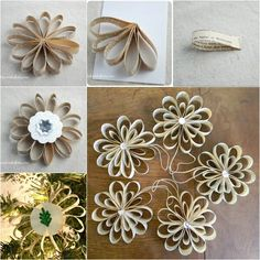Wonderful DIY book page snowflake ornaments f - Quilling Paper Crafts Flower Ornaments, Paper Ornaments, Vintage Ornaments, Diy Christmas Ornaments, Book Crafts, Holiday Crafts, Snowflake Ornaments, Paper Snowflakes, Snow Ornaments