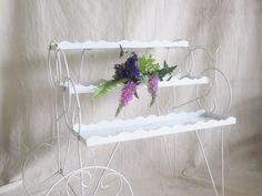 Vintage White Flower Cart Garden Wedding Centerpiece Prop Sunroom Porch Patio Beach French Shabby Decor