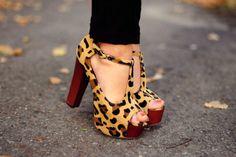 leopard open toe platform shoes!!