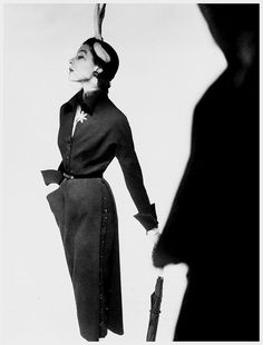 Modelling a Jacques Fath dress, photo by Horst P Horst Vogue 1950 by dovima_is_devine_II, via Flickr