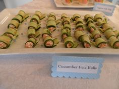 Cucumber Rolls with Sundried Tomatoes and Feta Cheese appetizer