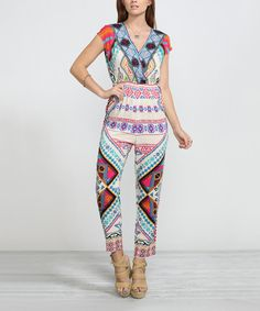 Look at this Cream Geometric Jumpsuit on #zulily today!