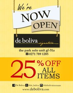 We're NOW OPEN at The Park Solo unit gf-31a. Soon, go @de_boliva to save 25%. ALL ITEMS.#deboliva #instaboliva #cafe #lowfat #icecream #solocity #thepark #debolivasignature #bolivasolo