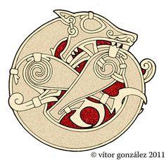 DeviantArt: More Collections Like Celtic Lion and Ram Emblem by Tattoo-Design Fenrir Tattoo, Norse Tattoo, Celtic Tattoos, Wiccan Tattoos, Inca Tattoo, Indian Tattoos, Viking Symbols, Viking Runes, Mayan Symbols