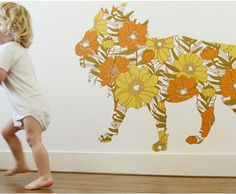 I am totally in love with these vintage wallpaper wall decals by Dutch mom Inke Heiland. I think the elephant is my favorite, but unless he makes an early appearance Jasper will be a Leo, so the Lion seems most fitting: Giraffe,. Lion Wallpaper, Wallpaper Stickers, Wallpaper Patterns, Animal Wallpaper, Wallpaper Ideas, Amazing Wallpaper, Retro Wallpaper, Wallpaper Samples, Lion Silhouette