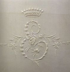 From an old, long out-of-print Italian book on beautiful monogram embroidery. Many...were embroidered for royal and titled families over the last century...