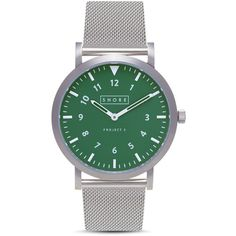 Shore Projects Anglesey Mesh Strap Watch, 39mm ($215) ❤ liked on Polyvore featuring jewelry, watches, green, green dial watches, green jewelry, polka dot jewelry, shore projects and dot jewelry