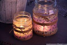 dinfantasi: Lyslykter med washi Candle Jars, Mason Jars, Candles, Idee Diy, Washi Tape, Diy And Crafts, Lights, Inspiration, Inspire