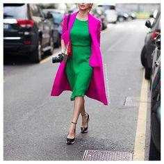 Pink coat, green dress