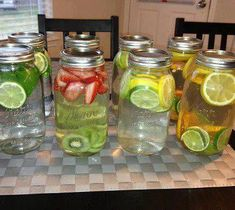 Infused waters. add fruit and let the water sit for at least 30 minutes before drinking (1) Green tea, mint, lime-fat burning, digestion, headaches, congestion and breath freshener. (2) Strawberry,kiwi-cardiovascular health, immune system protection, blood sugar regulation, digestion (3) Cucumber, lime, lemon- water weight management, bloating, appetite control, hydration, digestion (4) Lemon, lime, orange- digestion vitamin C, immune defense, heartburn, (drink this one at room temperature)