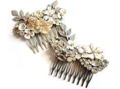 Bridal Hair comb - Wedding jewelry - Shabby chic vintage collage in white with crystal rhinestones - Bridesmaids gift - Wedding head piece. €87,00, via Etsy.