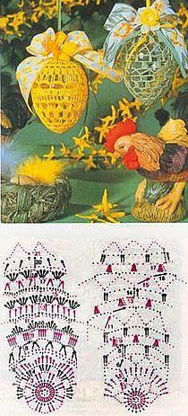 ozdoby wielkanocne na Stylowi.pl Crochet Stars, Thread Crochet, Diy Crochet, Easter Projects, Easter Crafts, Easter Crochet Patterns, Crochet Decoration, Knitted Flowers, Christmas Cross
