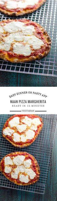Naan Pizza Recipe: Margherita Flatbread Naan pizza margherita is ready in 15 minutes (with only 5 minutes of prep). It's equally at home as a weeknight dinner or a game day/party appetizer. Pizza Recipes, Vegetarian Recipes, Cooking Recipes, Healthy Recipes, Vegetarian Pizza, Fast Recipes, Entree Recipes, Quiches, Indian Food Recipes