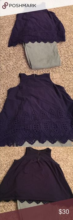 Top from Stitch fix navy M Eyelet top navy stitch fix M worn twice stitch fix Tops Tank Tops