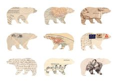 Bears cut out of vintage paper.