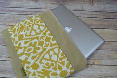 "Laptop Bag for MacBook Pro 13"", 15"", 17 inch Case Sleeve Cover Mac ipad Messenger Bag, Tan & Mustard Yellow / Waterproof, Darby Mack"