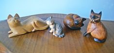 Vintage Wood Cat Figurines, Wood Carvings Light Colored Wood, Wood Cat, Cat Sitting, Grey Paint, Wood Carvings, Op Art, One Light, Vintage Wood, Trinket Boxes