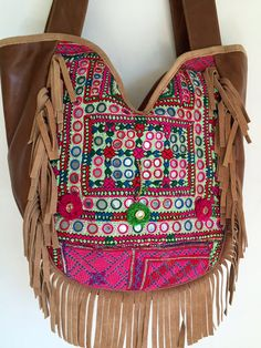 Boho-Gypsy tasseled tote bag leather and vintage by SummerHouseNZ
