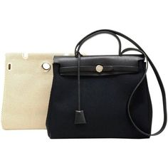 Preowned Hermes Herbag Pm 2 In 1 Canvas Black Leather Shoulder Bag (4,310 SAR) ❤ liked on Polyvore featuring bags, handbags, shoulder bags, black, structured shoulder bags, hermes purse, canvas handbags, shoulder strap purses, leather shoulder handbags and genuine leather purse