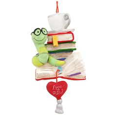 Book Worm With Heart Dangle Ornament $8.99-Bronner's