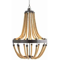 Vic 8L Iron and Rope Chandelier in bronze and natural rope.