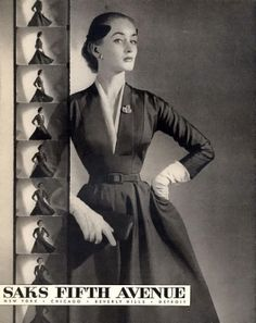 #Saks Fifth Ave Cocktail Hourglass Dress (1952)