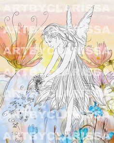 Instant Download FAERIE FAIRY print Flowers by ArtbyClarissa
