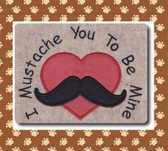 Applique Valentine Mustache Design Includes 3 by 8clawsandapaw