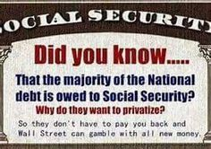 This isn't quite true; 230 federal agencies hold portions of the national debt, but the Social Security Trust Fund is by far the largest holder at $2.783 trillion.  The debt held by China is $1.272 as of 6/2015.  We owe ourselves more than we owe China.