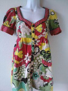 Multi-Color Boho Hippie Tunic Top Size S Bold Floral Print #ButtonDownShirt #Casual