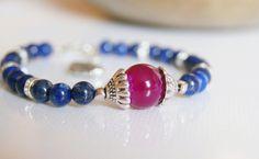 Lápisz lazuli meggy acháttal ásvány ékszer karkötő, Ékszer, óra, Karkötő, Meska