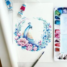 watercolor flowers peacock