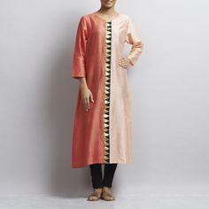 Half & Half Light Peach & Coral Chanderi Kurta with Triangle Motifs Kurta Designs Women, Light Peach, Duster Coat, Triangle, Coral, Clothing, How To Wear, Jackets, Fashion