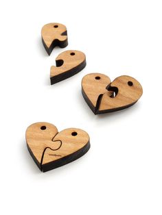 Wood Puzzle Heart Beads - Six Pieces Laser Cut from Sustainable Harvest Wisconsin Wood . Timber Green Woods