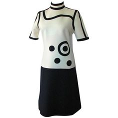 Preowned Louis Feraud Dress Rare Mod Graphic Abstract Op Art Wool... (330 CAD) ❤ liked on Polyvore featuring dresses, grey, gray wool dress, preowned dresses, wool dresses, woolen dress and circle dress