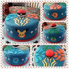 A pokemon fondant cake I made for my nephews birthday in November of 2013 featuring Pikachu, Charmander, Bulbasaur, and Squirtle along with their elements leading up to the pokeball