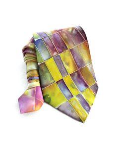 Man Tie. Hand Painted Silk Tie. Plaid Multicolor Tie. Sparkle Silk Tie. Olive Tie. OOAK Tie. Birthday Gift for Him. Ready to Ship.