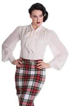 Blouse Chemisier Pin-Up 50's Rétro Glam Chic Kathleen