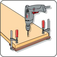 Do you need to drill a hole at a specific angle? Then you can make a wooden drilling accessory with an edge at the same angle. Hold the drill against the angled edge, and then you can be sure you're drilling at the right angle. Woodworking Workshop, Woodworking Jigs, Serra Circular, Wooden Plugs, Glazed Tiles, Stainless Steel Screws, Reinforced Concrete, Work Tools, Wooden Handles
