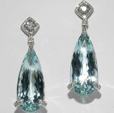 Mark Patterson Aquamarine and Diamond Earrings.