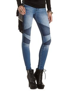 Patched Moto Skinny Jeans