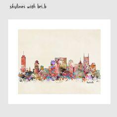 nashville tennessee skyline .colorful modern pop by oxleystudio