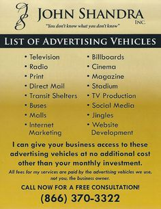 Josh Shandra helps you with smart methods of advertising and marketing on TV, Radio, and Internet that puts your business into focus without vague or unprofitable investments. Smart Method, Radio Advertising, Tv Radio, Direct Mail, Print Magazine, Billboard, Internet Marketing, Investing, Social Media