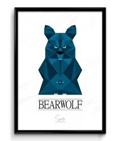 BEARWOLF ( A2 42x59,40 Cm ) blå