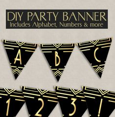 Printable Bunting 1920s theme party decor, roaring twenties banner any phrase, gatsby party ideas, instant download, prohibition era signs by YouGrewPrintables on Etsy